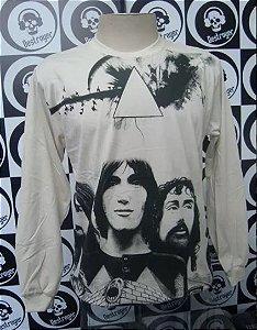 Camiseta manga longa toda estampada - Pink Floyd - Bege
