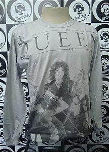 Camiseta Manga Longa toda estampada Queen - Cinza
