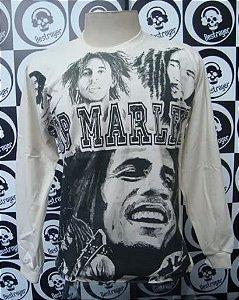 Camiseta manga longa toda estampada - Bob Marley - Bege