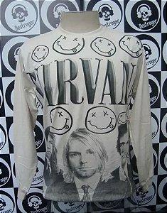 Camiseta Manga Longa toda estampada - Nirvana - Bege