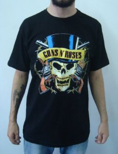 Camiseta Guns and Roses - Caveira Cartola