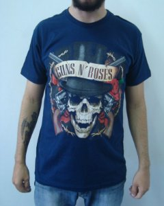 Camiseta Azul Guns and Roses - Caveira Cartola