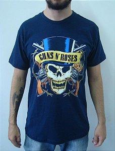 Camiseta Azul - Guns And Roses - Caveira Cartola