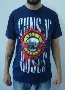 Camiseta Azul Guns and Roses - Blood