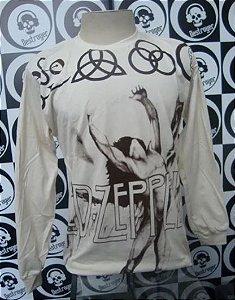 Camiseta Manga Longa Led Zeppelin - Bege