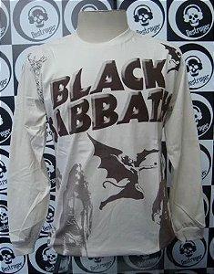 Camiseta Manga Longa Toda Estampada - Black Sabbath - Bege
