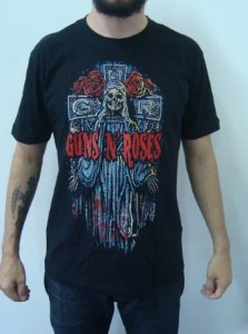Camiseta Guns And Roses - Cruz / Caveira