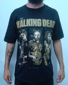 Camiseta The Walking Dead - Daryl, Rick e Michonne