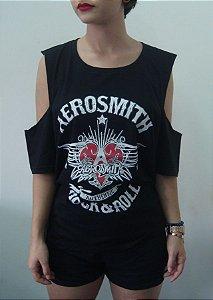 Camiseta feminina com ombro aberto - Aerosmith