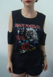 Camiseta feminina com ombro aberto - Iron Maiden - Number of the beast