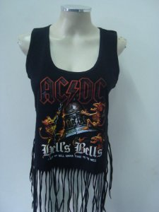 Regatinha feminina customizada - AC DC - Hells Bells