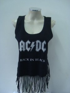 Regatinha feminina customizada - AC DC - Back in Black