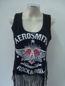 Regatinha feminina customizada - Aerosmith - Authentic rocknroll