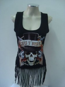 Regatinha feminina customizada - Guns and Roses