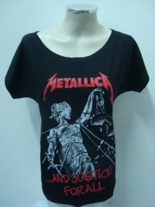 Blusinha gola canoa Metallica - And Justice for all