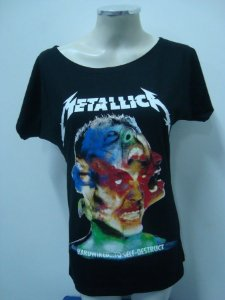 Blusinha gola canoa Metallica - Hardiwired to self destruct