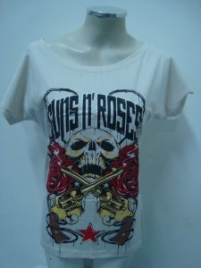 Blusinha gola canoa - Guns and Roses - Caveira