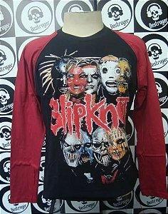 Camiseta Manga Longa Raglan - Slipknot - Máscara