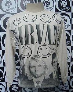 Camiseta Manga Longa Estampa total - Nirvana - Bege