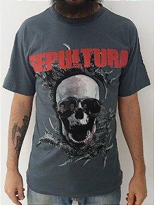 Camiseta cinza Sepultura Caveira