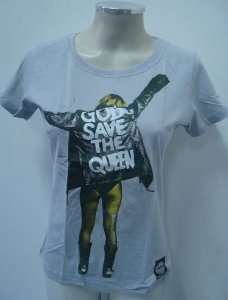 Baby look - God save the queen (cinza)