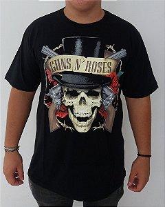 Camiseta Guns and Roses - Caveira Cartola