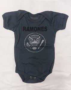 Body para bebês Ramones Cinza