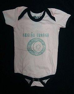 Body para bebês - Legião Urbana V Rosa Costura preta