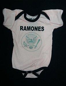 Body para bebês - Ramones - Branco costura preta