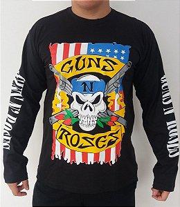 Camiseta manga longa Guns and Roses Caveira Bandeira EUA