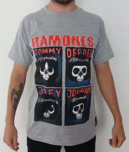 Camiseta Ramones - Tommy - Dee Dee - Joey - Johnny - Cinza
