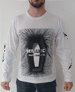 Camiseta Manga Longa - Metallica - Death Magnetic - Branca
