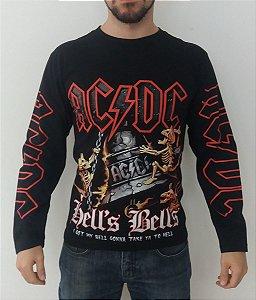 Camiseta Manga Longa - AC DC - Hells Bells