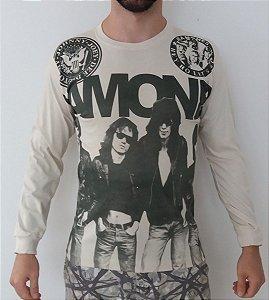 Camiseta Manga Longa - Ramones - Bege