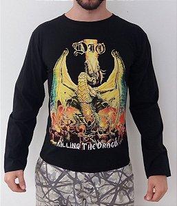 Camiseta Manga Longa - Dio - Killing the Dragon