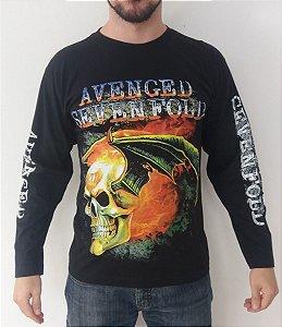 Camiseta Manga Longa - Avenged Sevenfold - Caveira