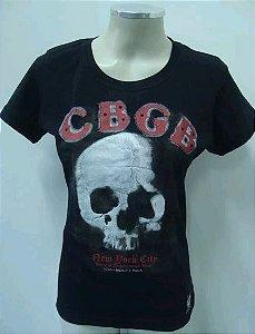 Baby Look Feminina - Cbgb Skull - New York City