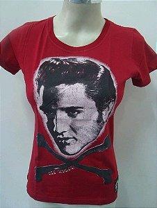 Baby Look Feminina - Elvis Presley - Oldschool - Vermelha