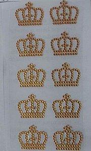 Cartela Aplique Coroa Strass Adesivo Dourada 20 unidades