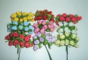 144 Mini Rosas Flores Rosinhas Artificiais