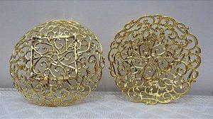 Bandeja Rendada Plástica Dourada 18cm