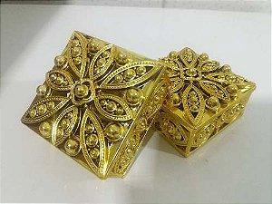 Lembrancinha Porta Joia Caixinha Dourada - Pct 10 Unids