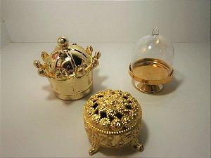Kit Dourado Realeza Coroa Porta Joia Cupula Festas