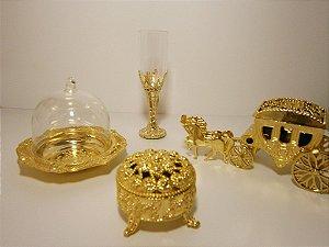 Kit Dourado Ostentação Coroa Cupula Tubete Festa Embalagens