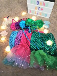 1 Fantasia Pequena Sereia Ariel Princesa Infantil Festa