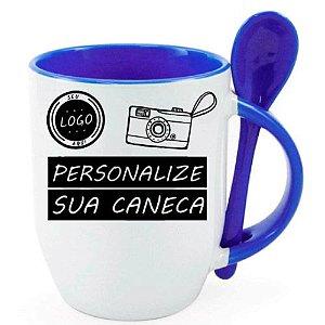 Caneca Personalizada - Com Colher Azul Forte