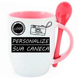 Caneca Personalizada - Com Colher Rosa