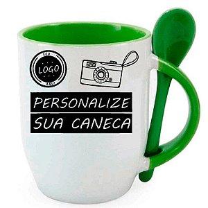 Caneca Personalizada - Com Colher Verde Fraco