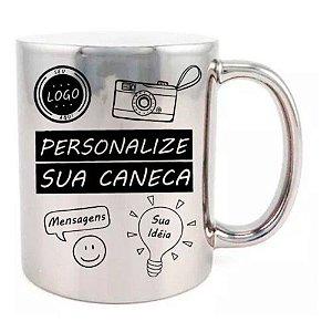 Caneca Personalizada - Metalizada / Cromada Prata