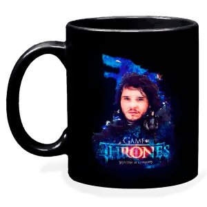 Caneca Preta Game Of Thrones Jon Snow